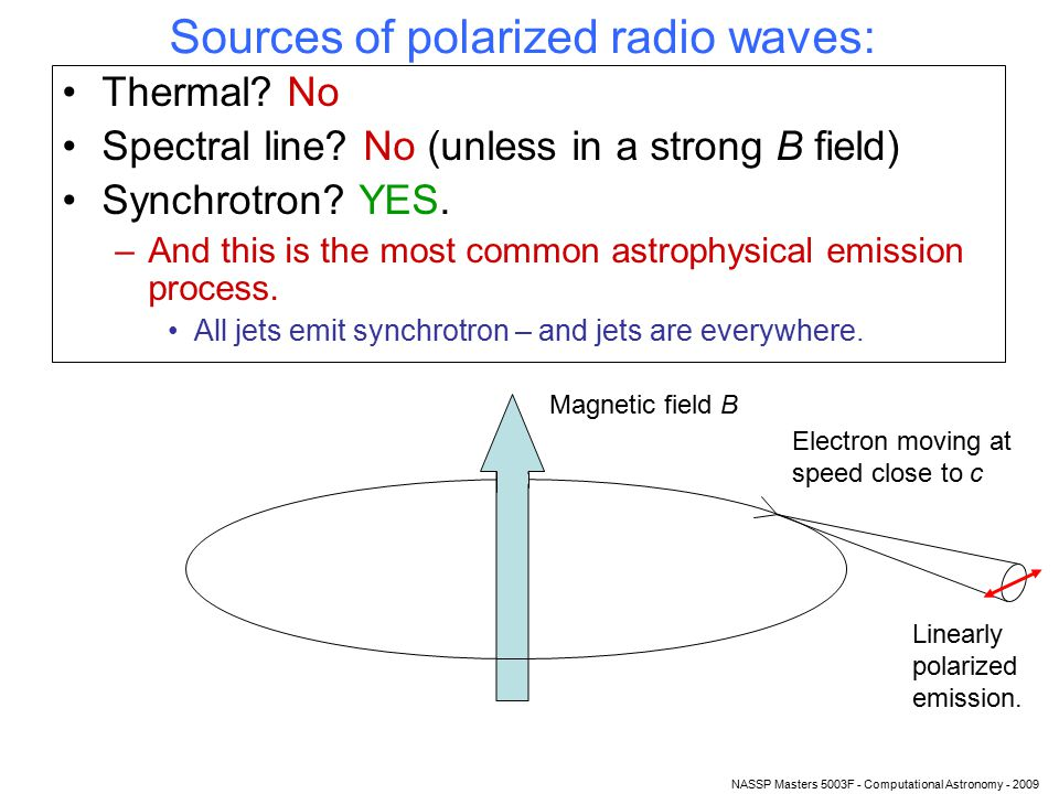NASSP Masters 5003F - Computational Astronomy - 2009 Optical depth Whenever you have a combination of radio waves and plasma, optical depth τ plays a role.