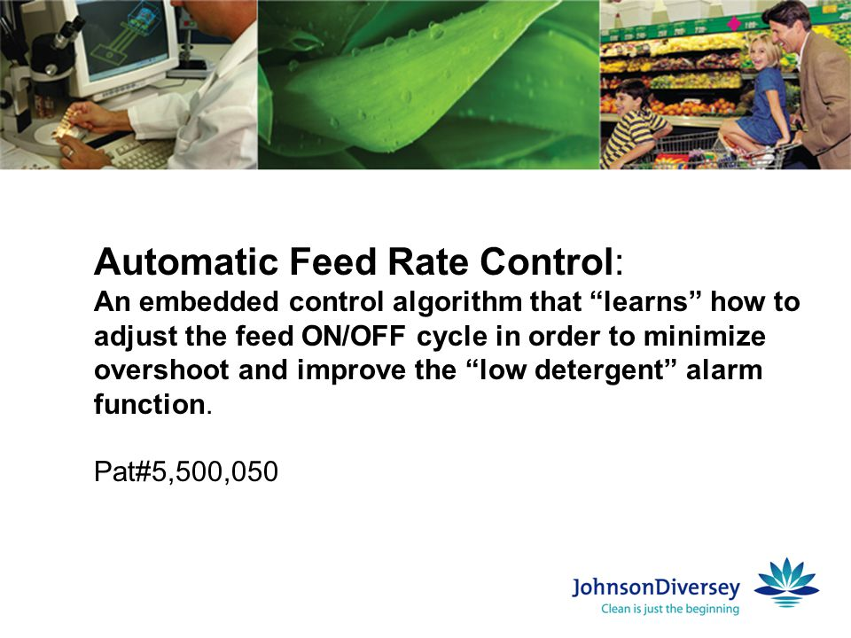 "Automatic Feed Rate Control: An embedded control algorithm that ""learns"" how to adjust the feed ON/OFF cycle in order to minimize overshoot and improv"