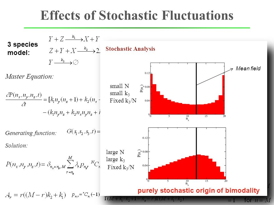 Effects of Stochastic Fluctuations Master Equation: Exactly Solvable 3 species model: Generating function: Solution: [X]+[Z]=M=const small N small k 3