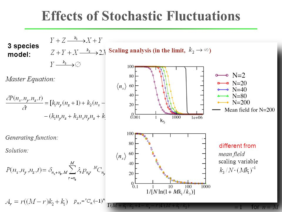 Effects of Stochastic Fluctuations Master Equation: 3 species model: Generating function: Solution: ff dd P(  ) ff dd reduction of n y and k