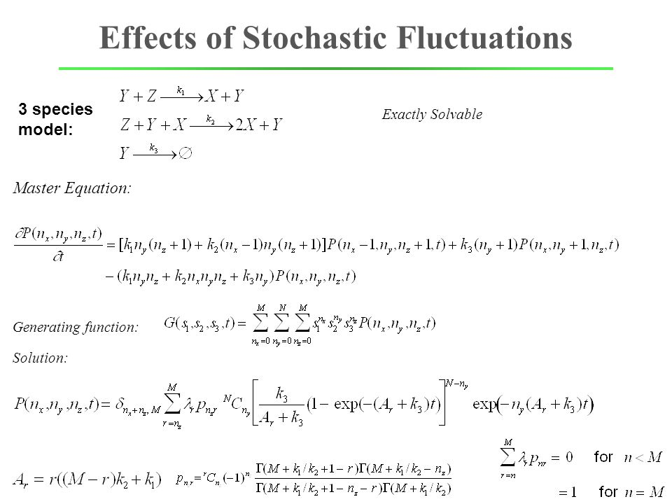 Effects of Stochastic Fluctuations Master Equation: Exactly Solvable 3 species model: Generating function: Solution: