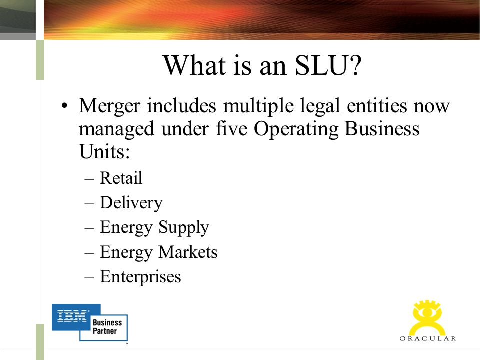 What is an SLU? Merger includes multiple legal entities now managed under five Operating Business Units: –Retail –Delivery –Energy Supply –Energy Mark