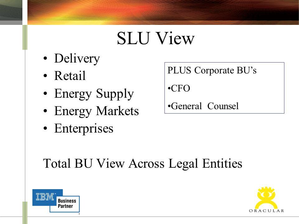 SLU View Delivery Retail Energy Supply Energy Markets Enterprises Total BU View Across Legal Entities PLUS Corporate BU's CFO General Counsel