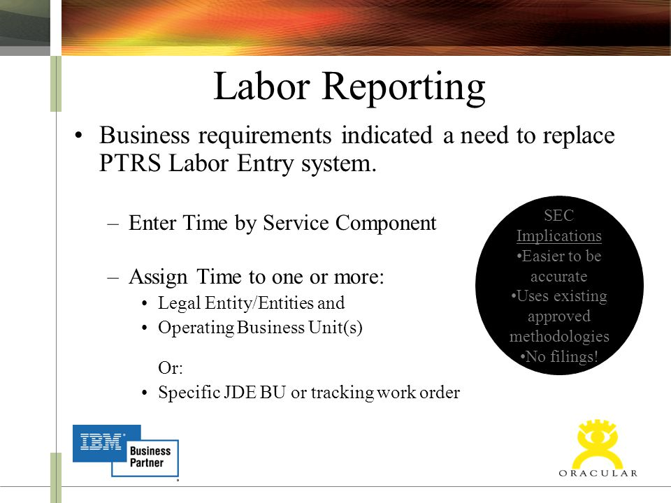 Labor Reporting Business requirements indicated a need to replace PTRS Labor Entry system. –Enter Time by Service Component –Assign Time to one or mor