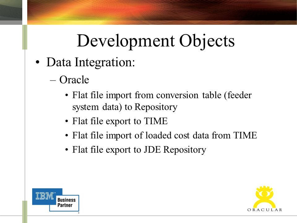 Development Objects Data Integration: –Oracle Flat file import from conversion table (feeder system data) to Repository Flat file export to TIME Flat file import of loaded cost data from TIME Flat file export to JDE Repository