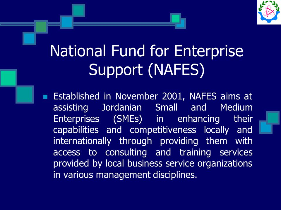 National Fund for Enterprise Support (NAFES) Established in November 2001, NAFES aims at assisting Jordanian Small and Medium Enterprises (SMEs) in enhancing their capabilities and competitiveness locally and internationally through providing them with access to consulting and training services provided by local business service organizations in various management disciplines.