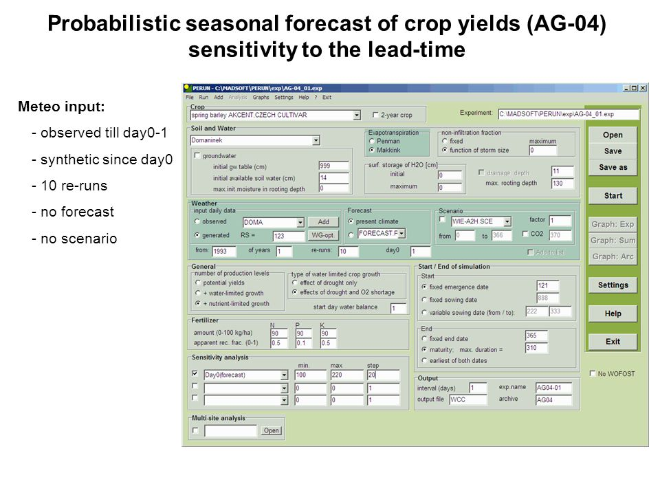 Probabilistic seasonal forecast of crop yields (AG-04) sensitivity to the lead-time Meteo input: - observed till day0-1 - synthetic since day0 - 10 re-runs - no forecast - no scenario