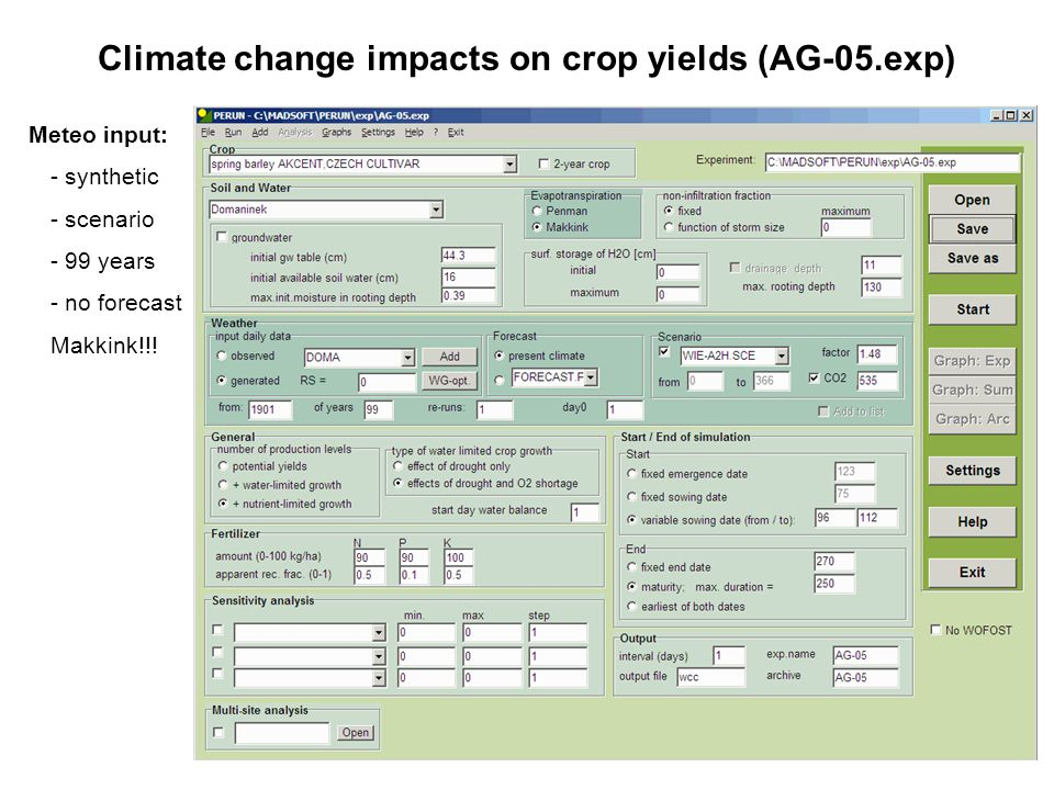 Climate change impacts on crop yields (AG-05.exp) Meteo input: - synthetic - scenario - 99 years - no forecast Makkink!!!