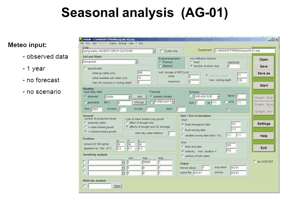 Seasonal analysis (AG-01) Meteo input: - observed data - 1 year - no forecast - no scenario