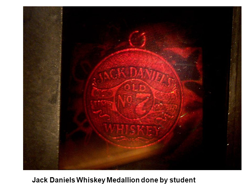 Jack Daniels Whiskey Medallion done by student