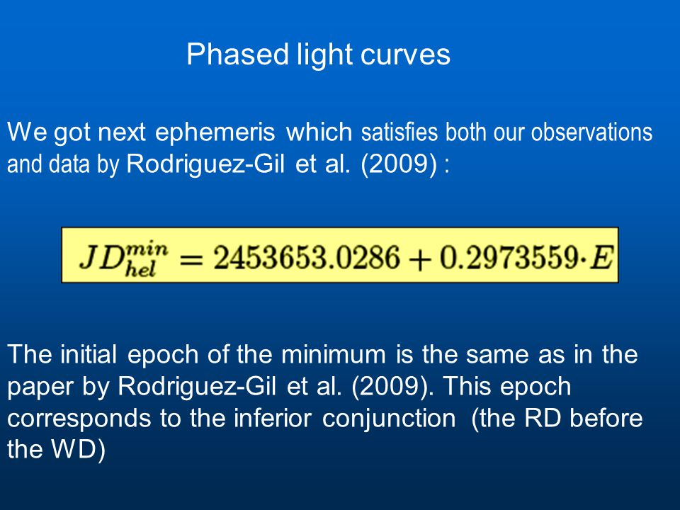 We got next ephemeris which satisfies both our observations and data by Rodriguez-Gil et al.