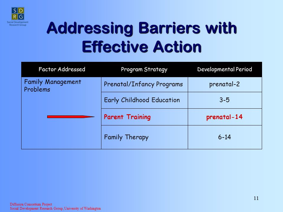 Diffusion Consortium Project Social Development Research Group, University of Washington 11 Addressing Barriers with Effective Action 3-5Early Childhood Education prenatal-2Prenatal/Infancy Programs 6-14Family Therapy prenatal-14Parent Training Family Management Problems Developmental PeriodProgram Strategy Factor Addressed