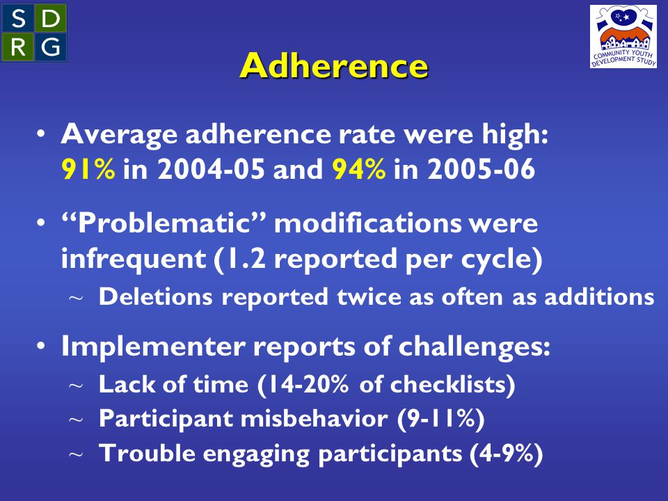 """Adherence Average adherence rate were high: 91% in 2004-05 and 94% in 2005-06 """"Problematic"""" modifications were infrequent (1.2 reported per cycle) ~ D"""