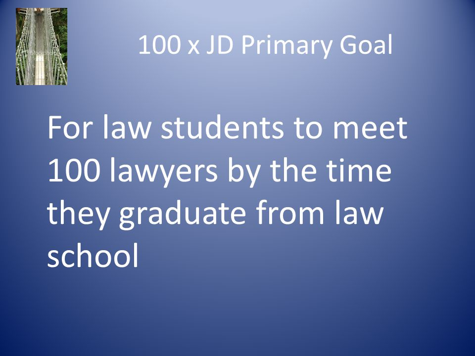 100 x JD Primary Goal For law students to meet 100 lawyers by the time they graduate from law school