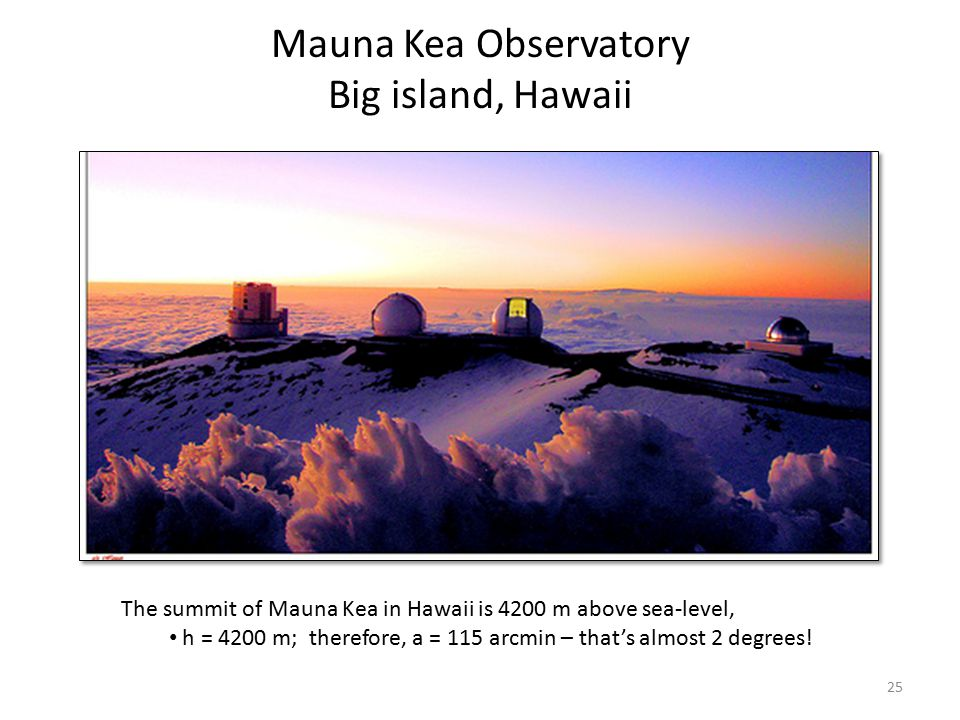 Mauna Kea Observatory Big island, Hawaii The summit of Mauna Kea in Hawaii is 4200 m above sea-level, h = 4200 m; therefore, a = 115 arcmin – that's a