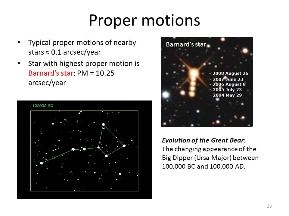 Proper motions Typical proper motions of nearby stars ≈ 0.1 arcsec/year Star with highest proper motion is Barnard's star; PM = 10.25 arcsec/year Evol