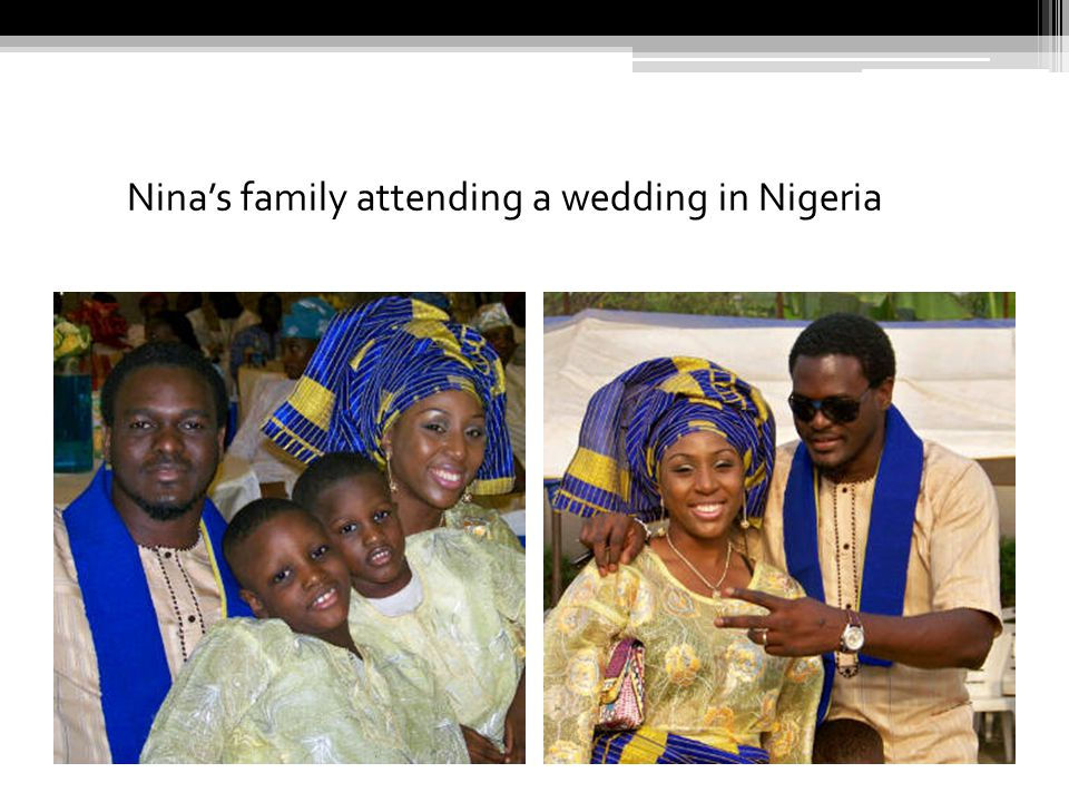 Nina's family attending a wedding in Nigeria