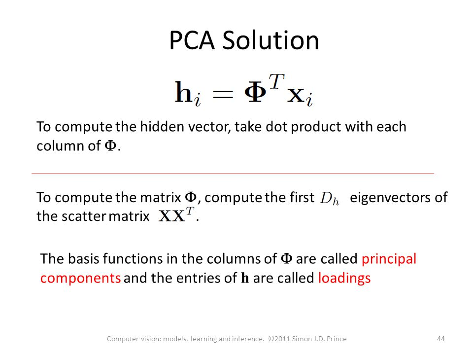 PCA Solution To compute the hidden vector, take dot product with each column of .