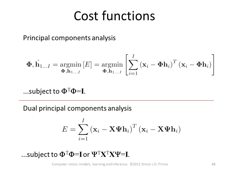 Cost functions...subject to  T  =I or  T X T X  =I....subject to  T  =I.