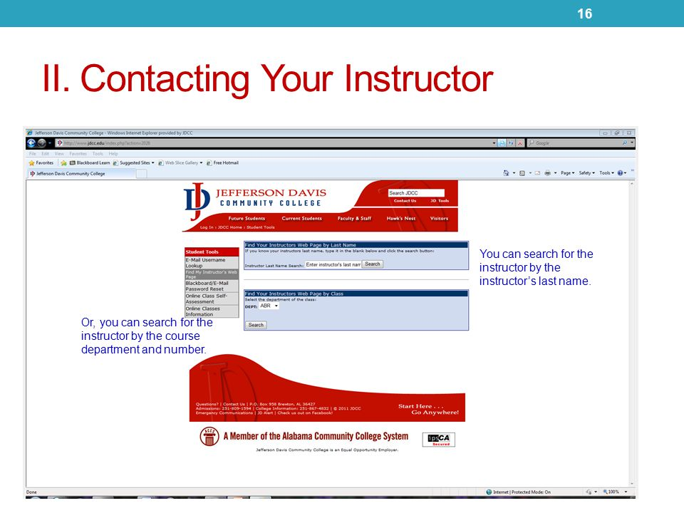 II. Contacting Your Instructor You can search for the instructor by the instructor's last name.