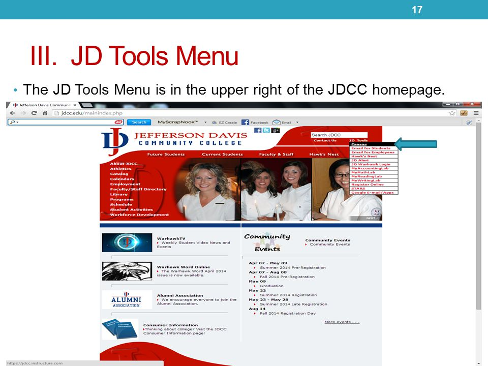 III. JD Tools Menu The JD Tools Menu is in the upper right of the JDCC homepage. 17