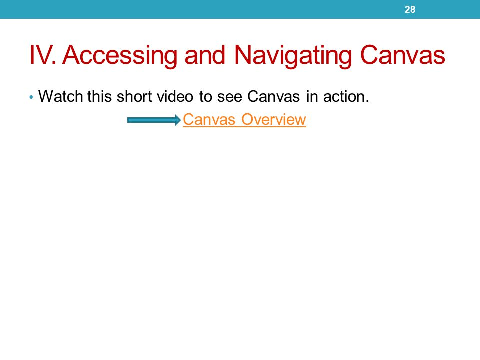 IV. Accessing and Navigating Canvas Watch this short video to see Canvas in action.