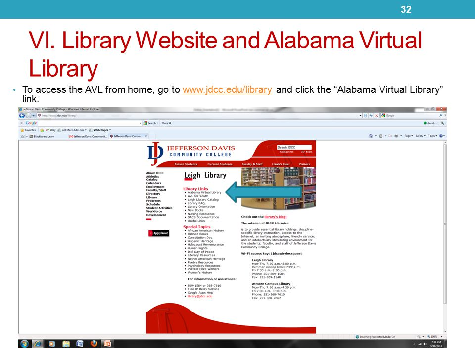 """VI. Library Website and Alabama Virtual Library To access the AVL from home, go to www.jdcc.edu/library and click the """"Alabama Virtual Library"""" link.w"""