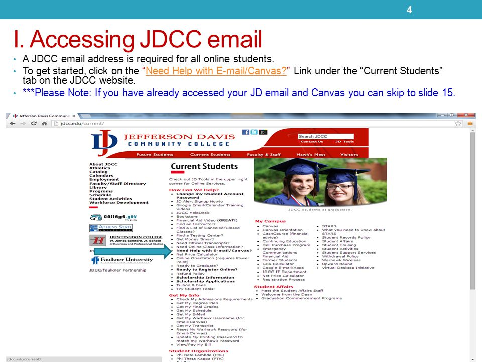 I. Accessing JDCC email A JDCC email address is required for all online students.