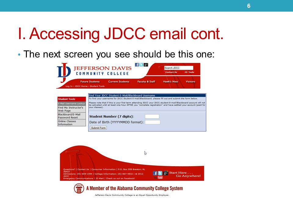 I.Accessing JDCC email cont.
