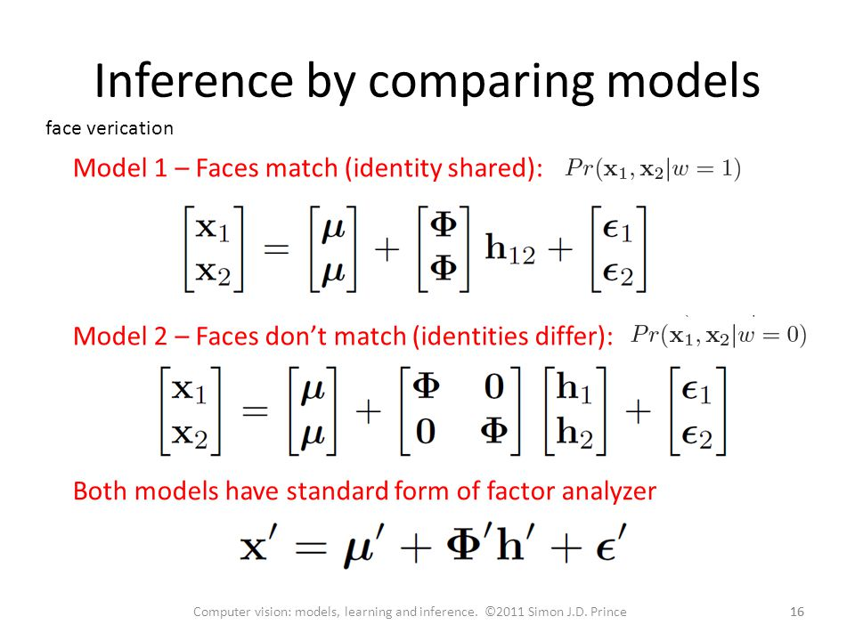 Inference by comparing models 16 Computer vision: models, learning and inference.