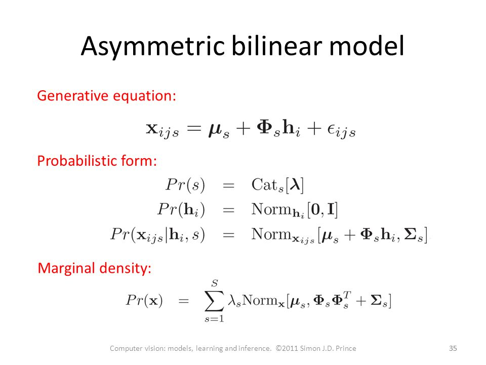 Asymmetric bilinear model 35 Computer vision: models, learning and inference.
