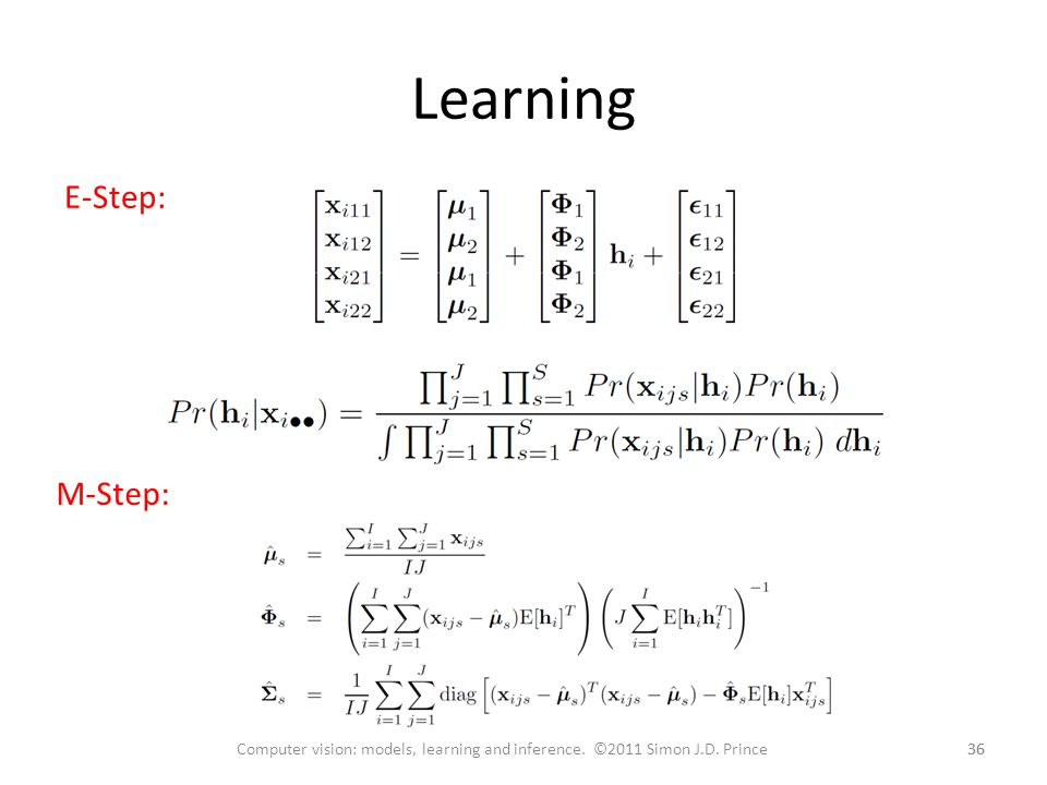 Learning 36 Computer vision: models, learning and inference.