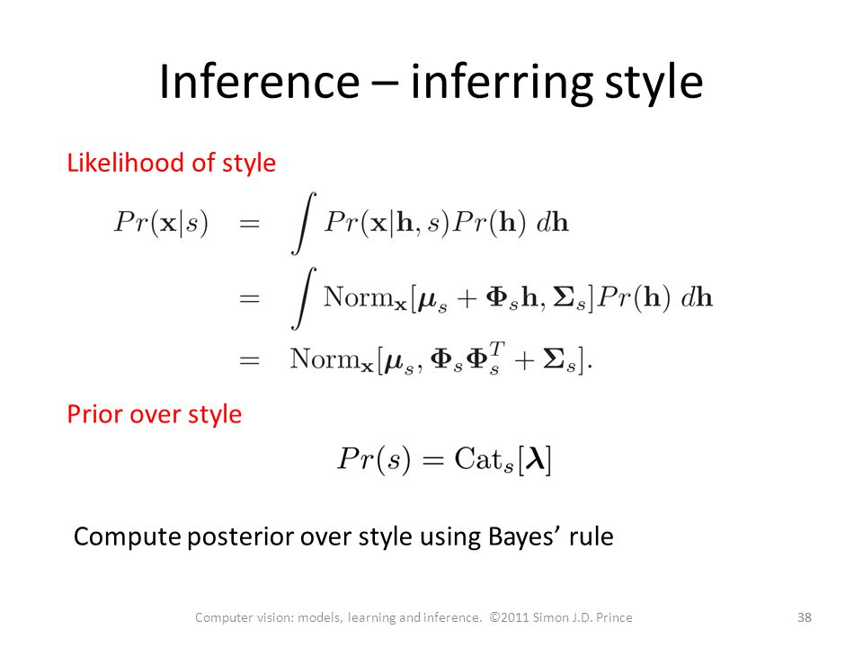 Inference – inferring style 38 Computer vision: models, learning and inference.