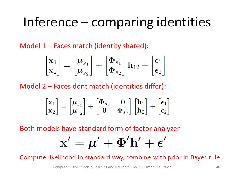 Inference – comparing identities 40 Computer vision: models, learning and inference.