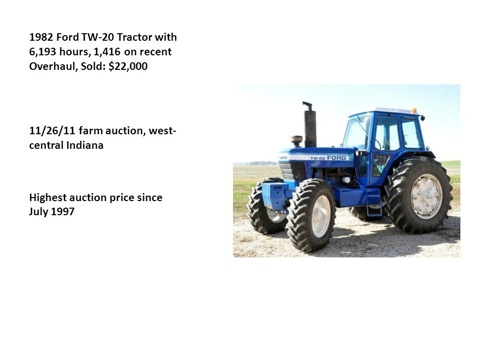 1982 Ford TW-20 Tractor with 6,193 hours, 1,416 on recent Overhaul, Sold: $22,000 11/26/11 farm auction, west- central Indiana Highest auction price since July 1997
