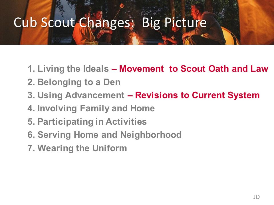 Cub Scout Changes: Big Picture 1.Living the Ideals – Movement to Scout Oath and Law 2.