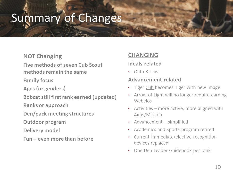 Summary of Changes NOT Changing Five methods of seven Cub Scout methods remain the same Family focus Ages (or genders) Bobcat still first rank earned (updated) Ranks or approach Den/pack meeting structures Outdoor program Delivery model Fun – even more than before CHANGING Ideals-related Oath & Law Advancement-related Tiger Cub becomes Tiger with new image Arrow of Light will no longer require earning Webelos Activities – more active, more aligned with Aims/Mission Advancement – simplified Academics and Sports program retired Current immediate/elective recognition devices replaced One Den Leader Guidebook per rank JD
