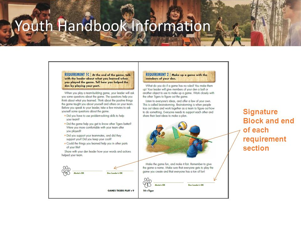 Youth Handbook Information Signature Block and end of each requirement section