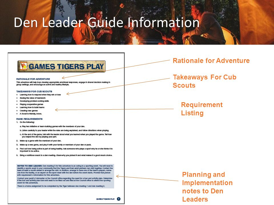 Den Leader Guide Information Rationale for Adventure Takeaways For Cub Scouts Requirement Listing Planning and Implementation notes to Den Leaders