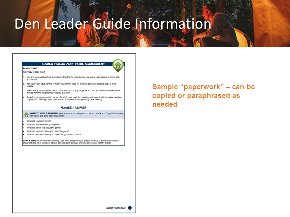 Den Leader Guide Information Sample paperwork – can be copied or paraphrased as needed