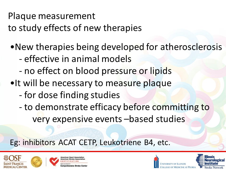 Plaque measurement to study effects of new therapies New therapies being developed for atherosclerosis - effective in animal models - no effect on blo