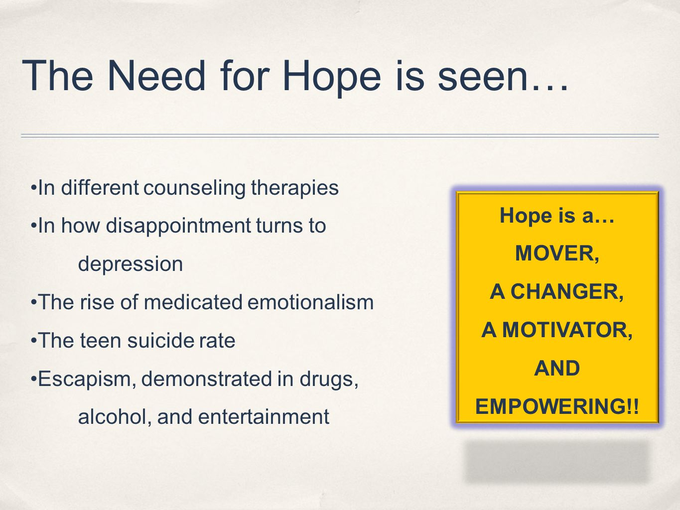 The Need for Hope is seen… In different counseling therapies In how disappointment turns to depression The rise of medicated emotionalism The teen sui