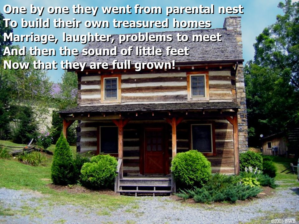 One by one they went from parental nest To build their own treasured homes Marriage, laughter, problems to meet And then the sound of little feet Now that they are full grown.