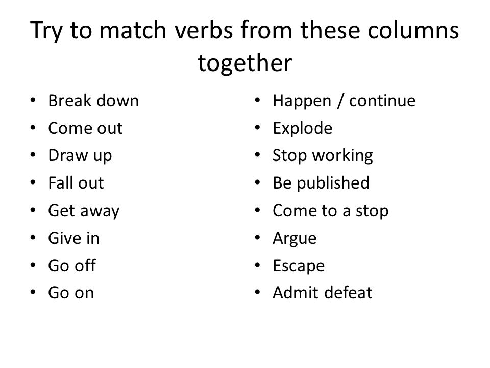 Try to match verbs from these columns together Break down Come out Draw up Fall out Get away Give in Go off Go on Happen / continue Explode Stop working Be published Come to a stop Argue Escape Admit defeat