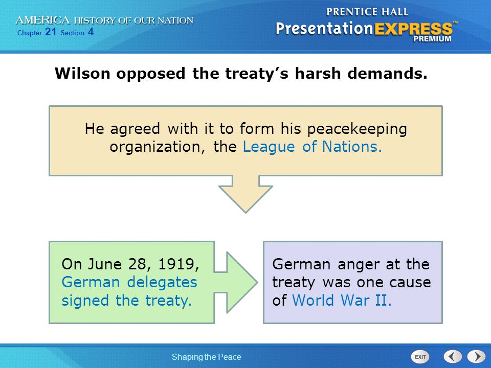 Chapter 21 Section 4 Shaping the Peace Yugoslavia Other peace treaties applied the principle of self- determination to some of the Central Powers.