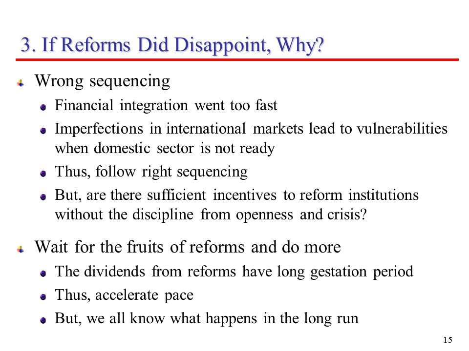 15 3. If Reforms Did Disappoint, Why.