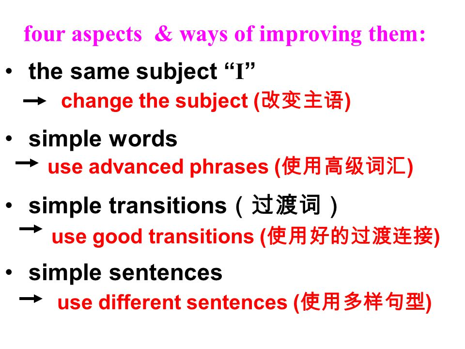the same subject I simple words simple transitions (过渡词) simple sentences four aspects & ways of improving them: use different sentences ( 使用多样句型 ) change the subject ( 改变主语 ) use good transitions ( 使用好的过渡连接 ) use advanced phrases ( 使用高级词汇 )