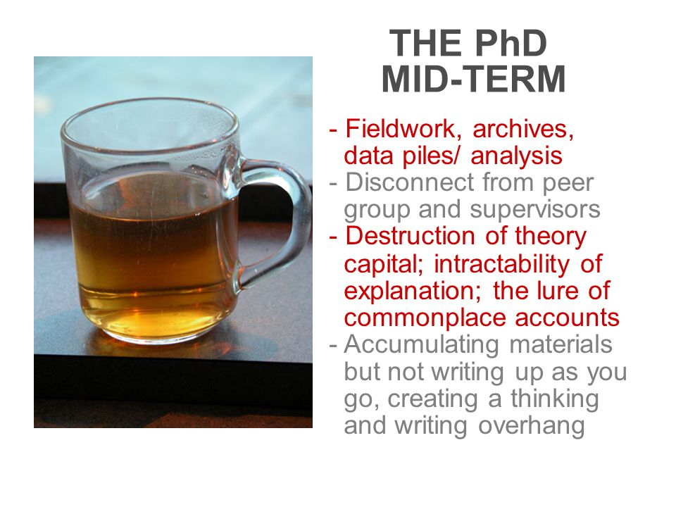 THE PhD MID-TERM - Fieldwork, archives, data piles/ analysis - Disconnect from peer group and supervisors - Destruction of theory capital; intractability of explanation; the lure of commonplace accounts - Accumulating materials but not writing up as you go, creating a thinking and writing overhang