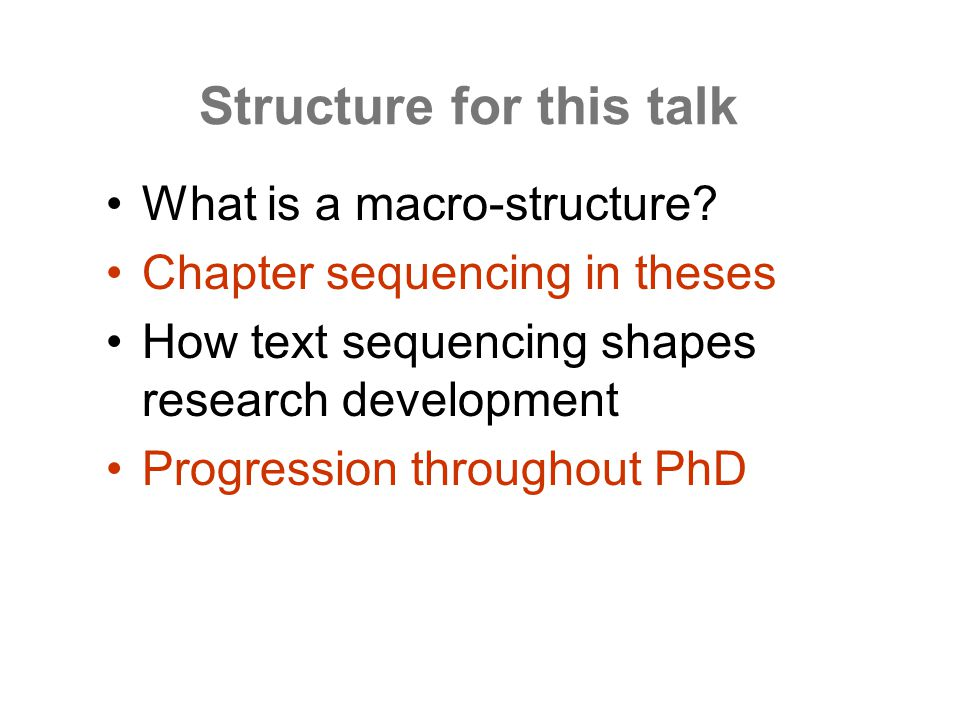 Structure for this talk What is a macro-structure.