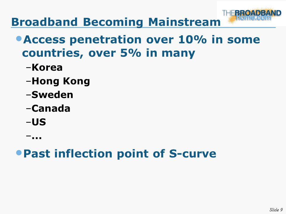 Slide 9 Broadband Becoming Mainstream Access penetration over 10% in some countries, over 5% in many –Korea –Hong Kong –Sweden –Canada –US –...